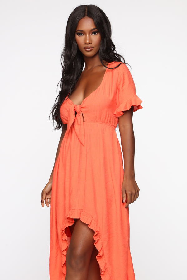 7bbb3efe45 Longing For Sunshine Ruffle Maxi Dress - Orange