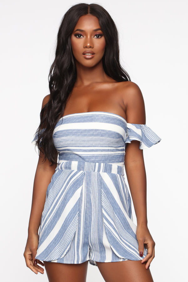 fe723d495a98 Lada Striped Off Shoulder Romper - Blue