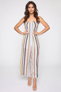 Shannon Striped Jumpsuit - Yellow/Multi Angle 1