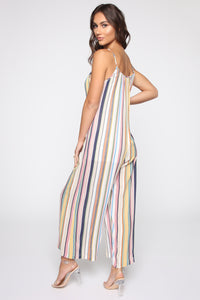 Shannon Striped Jumpsuit - Yellow/Multi Angle 4
