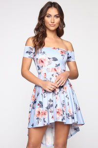 Sweet Obsession Flare Midi Dress - Blue/Combo