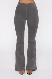 Stay The Night Flare Jeans - Grey