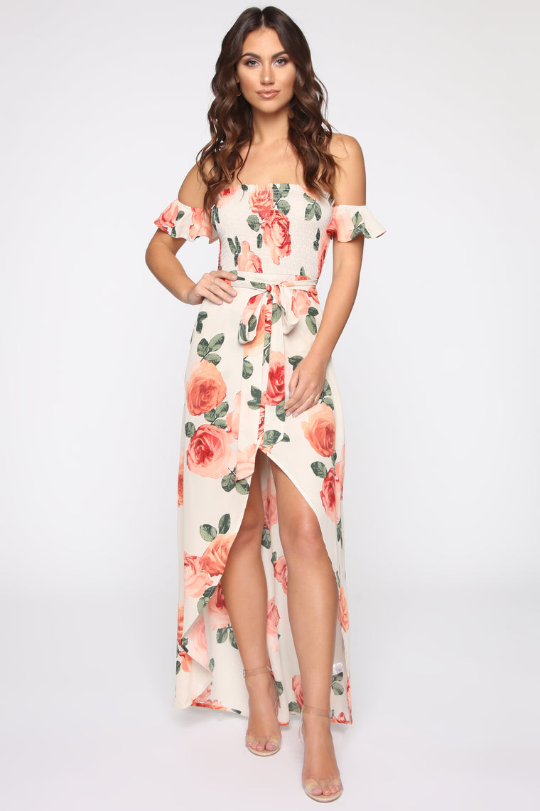 Box Of Flowers Off Shoulder Maxi Dress   Ivory/Combo by Fashion Nova