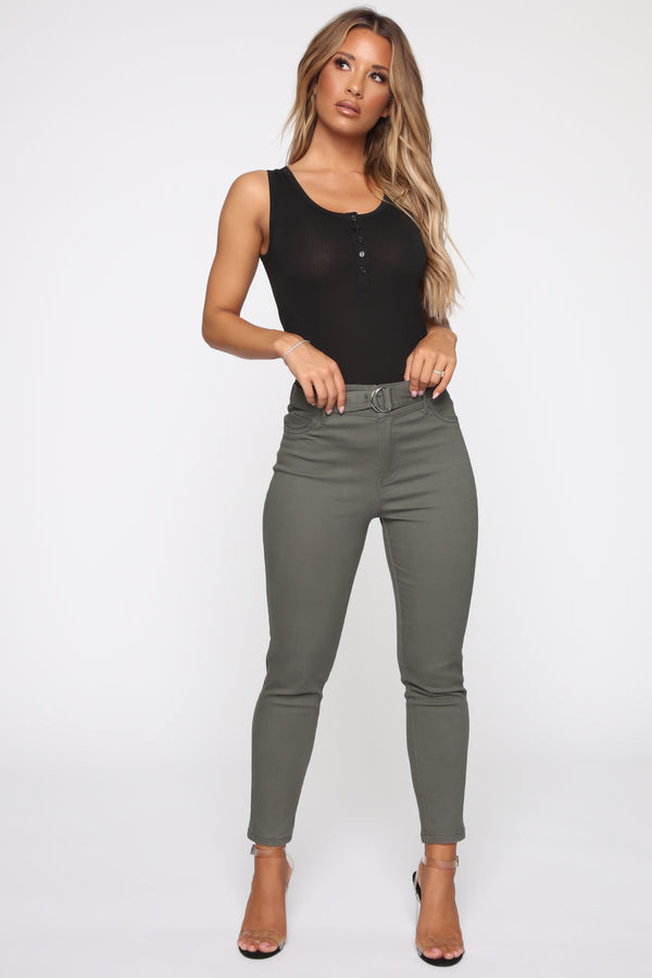 ff5ac02f63 Not A Game Belted Pants - Olive
