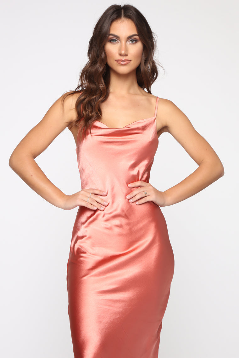 Follow Me Satin Slip Midi Dress - Rust