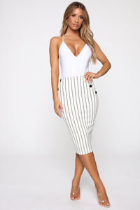 Stay In Your Lane Midi Skirt - White/Black Angle 2