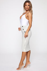 Stay In Your Lane Midi Skirt - White/Black Angle 3