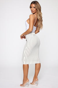 Stay In Your Lane Midi Skirt - White/Black Angle 5