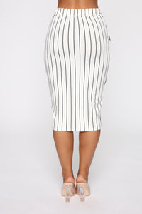 Stay In Your Lane Midi Skirt - White/Black Angle 6