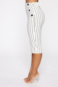 Stay In Your Lane Midi Skirt - White/Black Angle 4