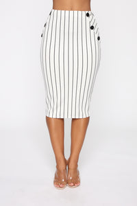 Stay In Your Lane Midi Skirt - White/Black Angle 1