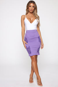 Keep Your Cool Denim Midi Skirt - Purple
