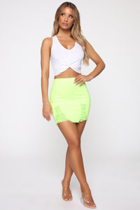 Rags To Riches Denim Skirt - Lime