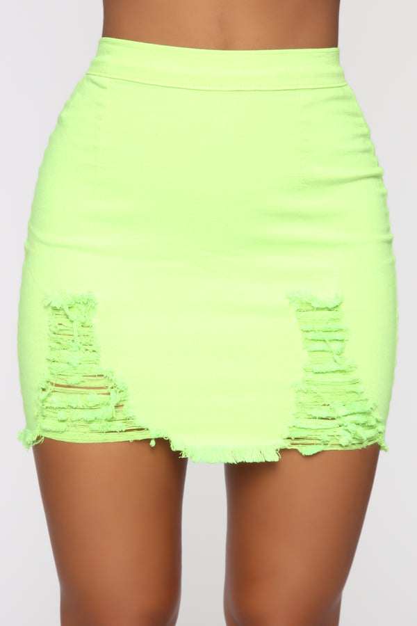 0771a5be41c Rags To Riches Denim Skirt - Lime