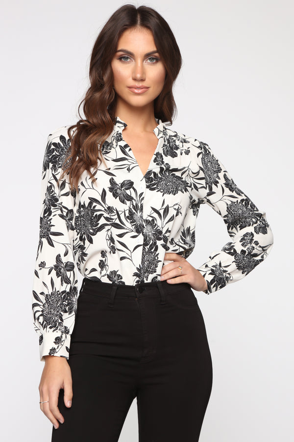 47c74c7a34 Flower You Now Top - Ivory Black