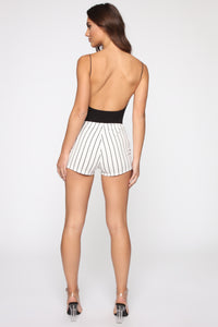 Stay In Your Lane High Rise Shorts - White/Black