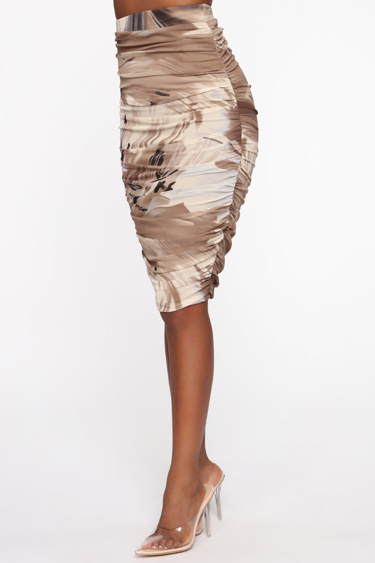 Paradise Mami Printed Midi Skirt - Tan/Multi
