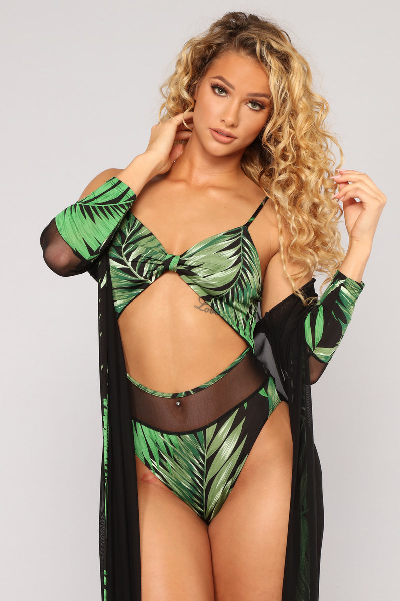 Tropical Charm 2 Piece Sunkini Set - Black/Combo