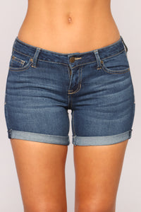 Stop On By Denim Shorts - Dark Denim