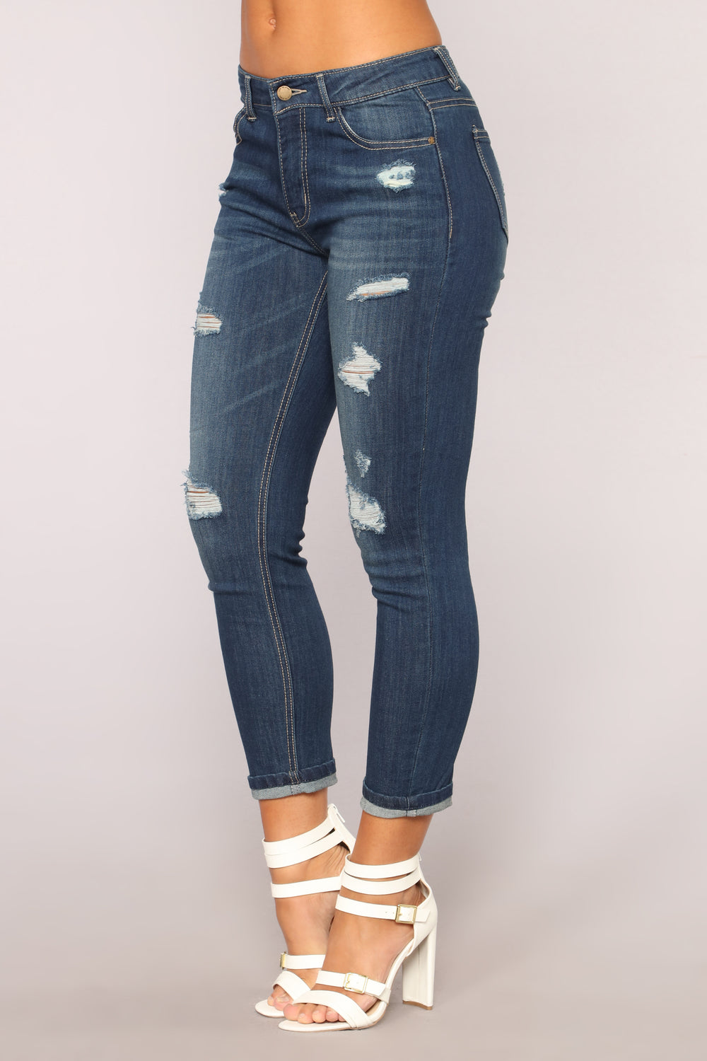 Follow Too Fast Relaxed Fit Jeans - Dark Denim
