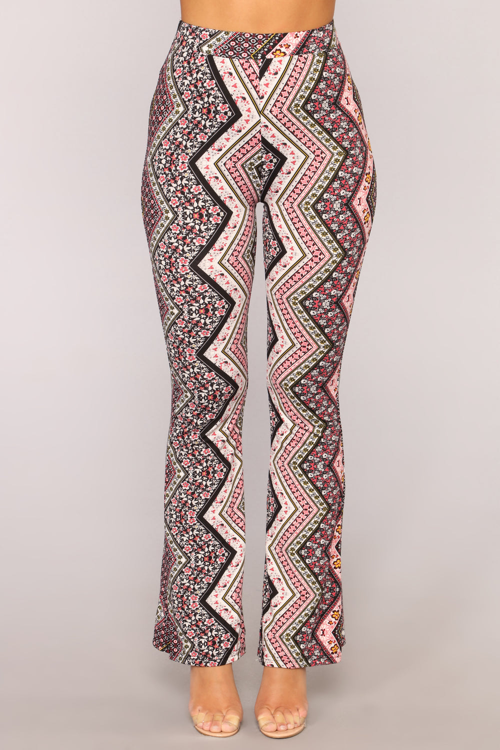 Carly Print Flare Pants - Pink