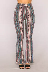 Breana Print Flare Pants - Blue
