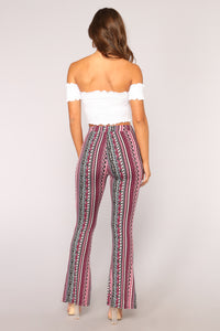 Bethany Print Flare Pants - Pink