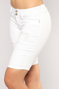 Roller Coaster Ride Denim Bermudas - White