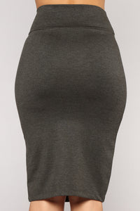 Harlee Ponte Skirt - Charcoal