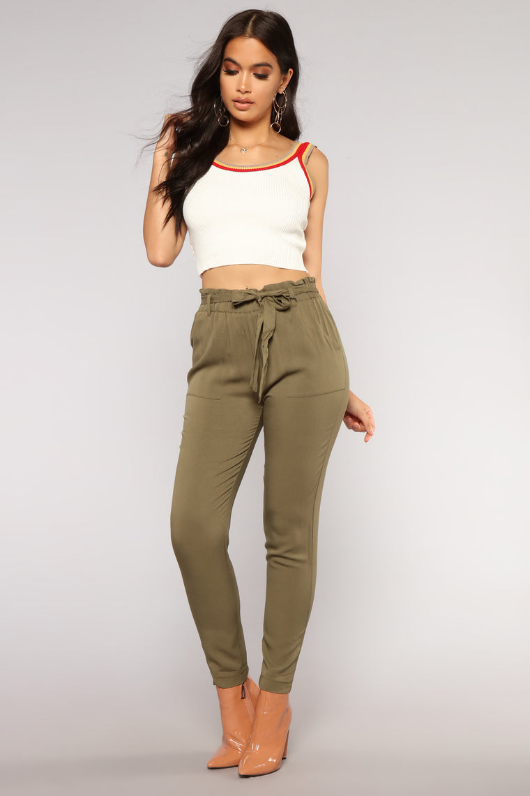 New Classic Tie Waist Pants - Olive