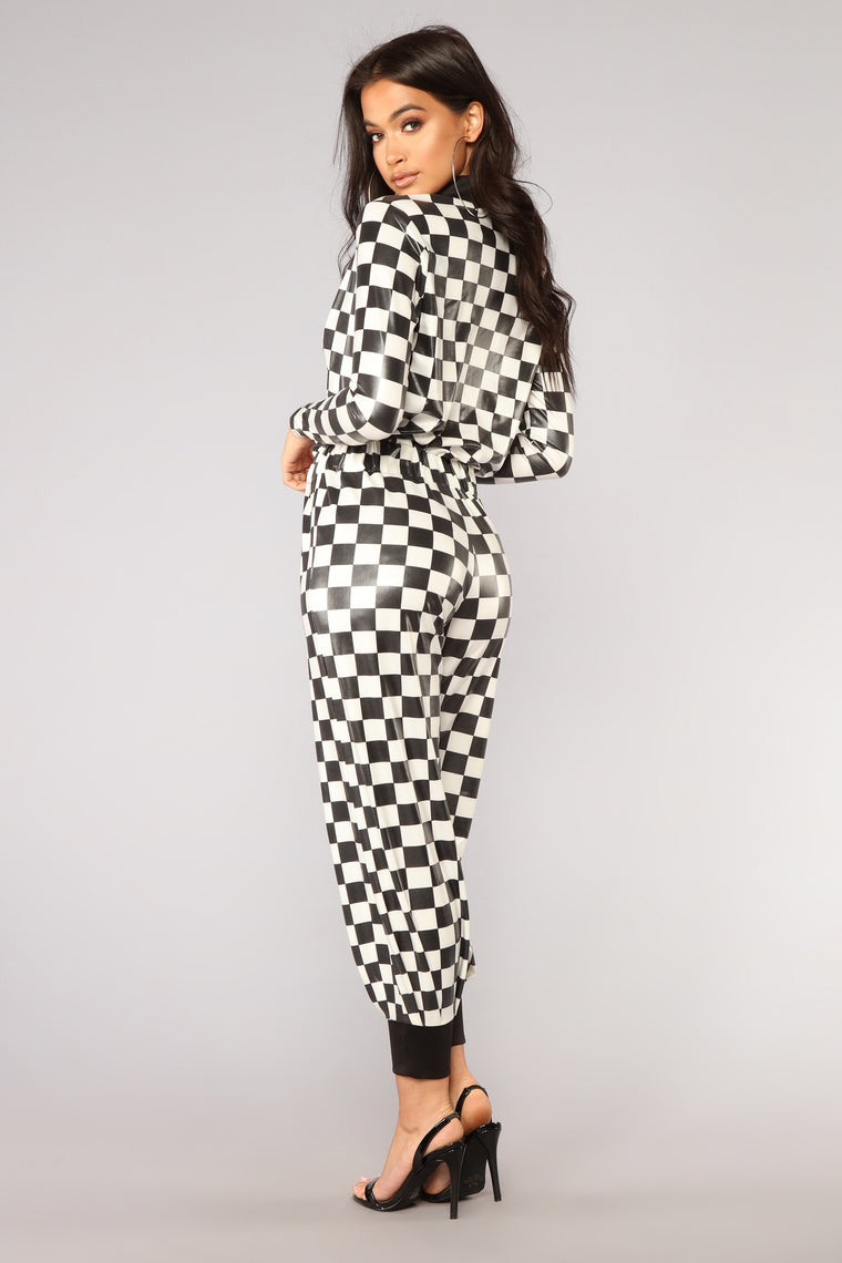 On The Right Track Jumpsuit - Black/White