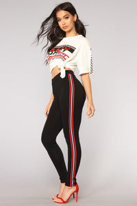 Run Up On You Leggings - Black/Red
