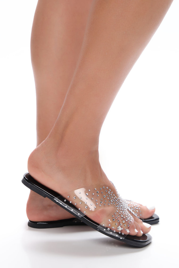 As You Wish Rhinestone Flat Sandals - Black