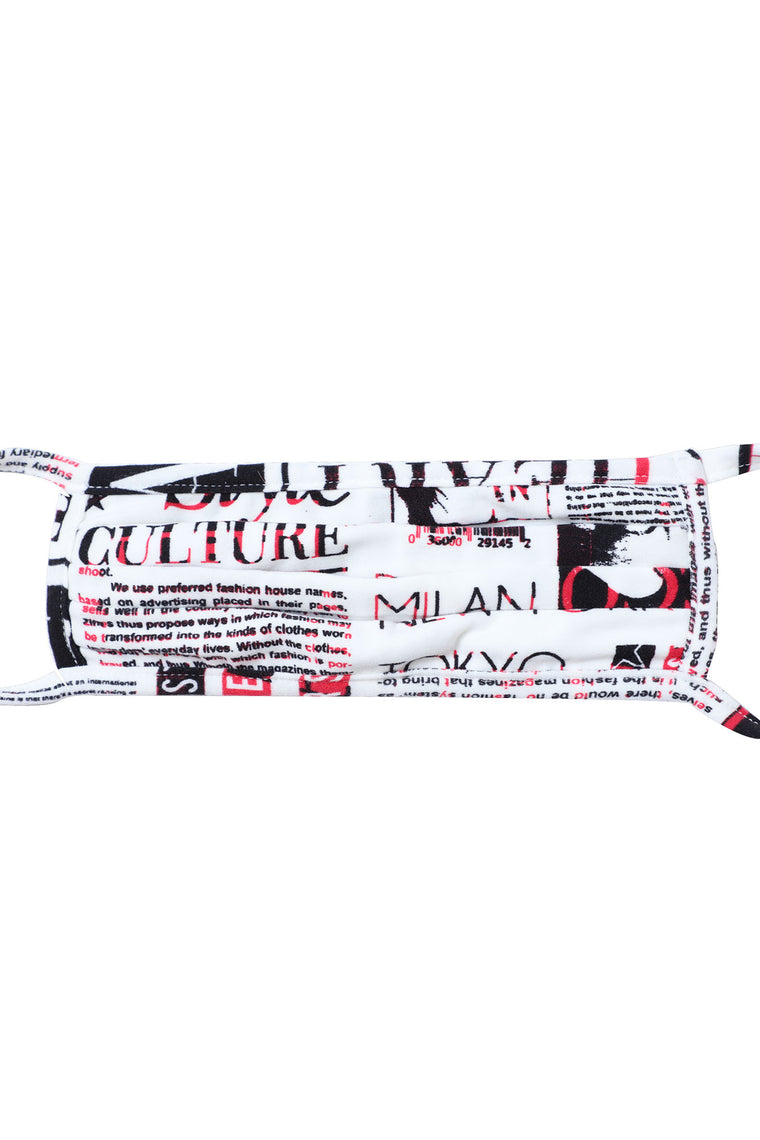 Newspaper Print Face Mask - White/Black