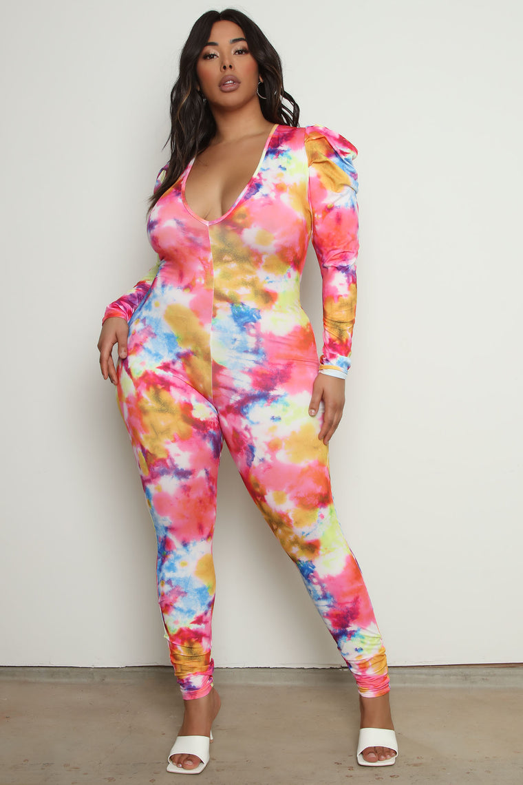 Sunset Kisses Tie Dye Jumpsuit - Pink/combo