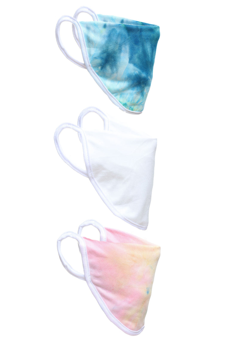 3 Pack Tie Dye Face Mask - Multi Color