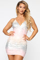 Lora Sequin Mini Dress - Pink/combo