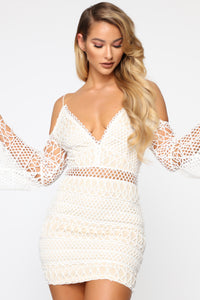 Find Your Way In Crochet Mini Dress - White/Nude