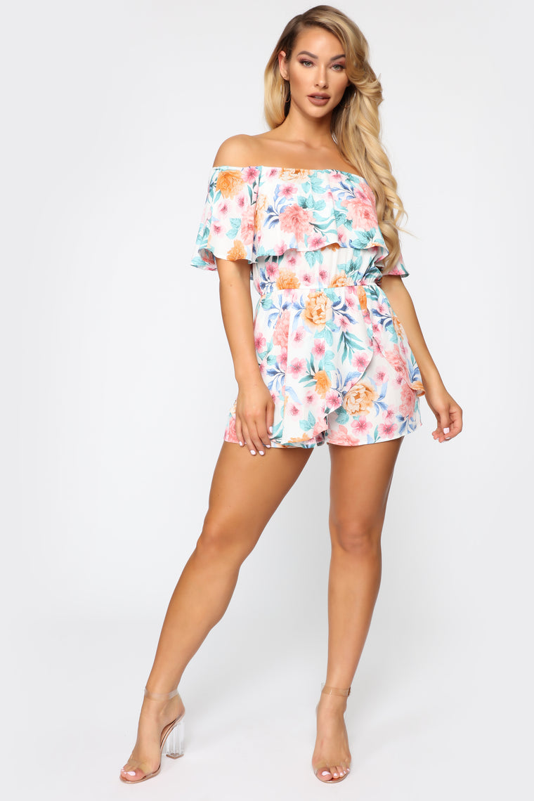 Loving The View Floral Romper - White/Combo