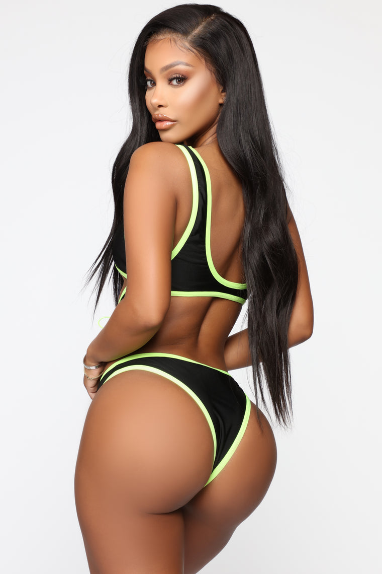 Boracay Island Swimsuit - Black/Neon Yellow