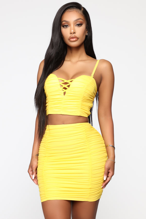 abf62bdb5a7 Never In A Ruche Skirt Set - Yellow