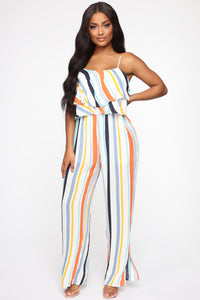 Shantal Striped Jumpsuit - Orange/Multi