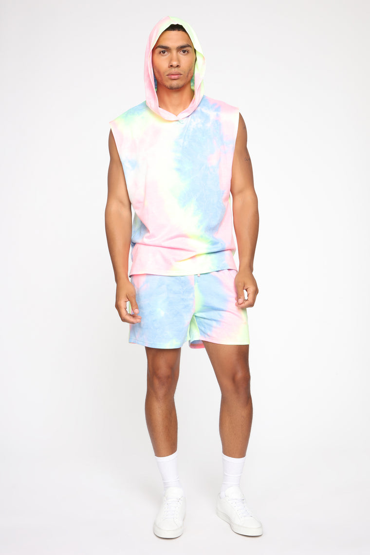 Color Me Up Sleeveless Hoodie - Blue/combo