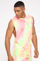 Mixed Feelings Tie Dye Muscle Tee - Pink/combo
