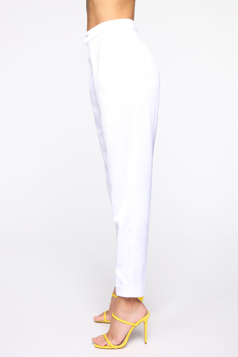 Bustin' They Bubble Satin Pants - White