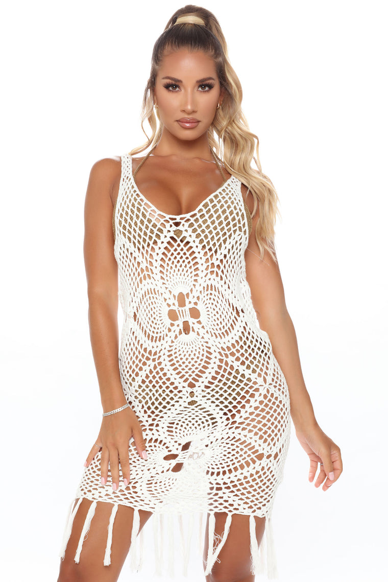 Mykonos And I Crochet Cover Up Dress - Off White
