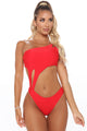 Beach Season One Piece Cutout Swimsuit  - Red