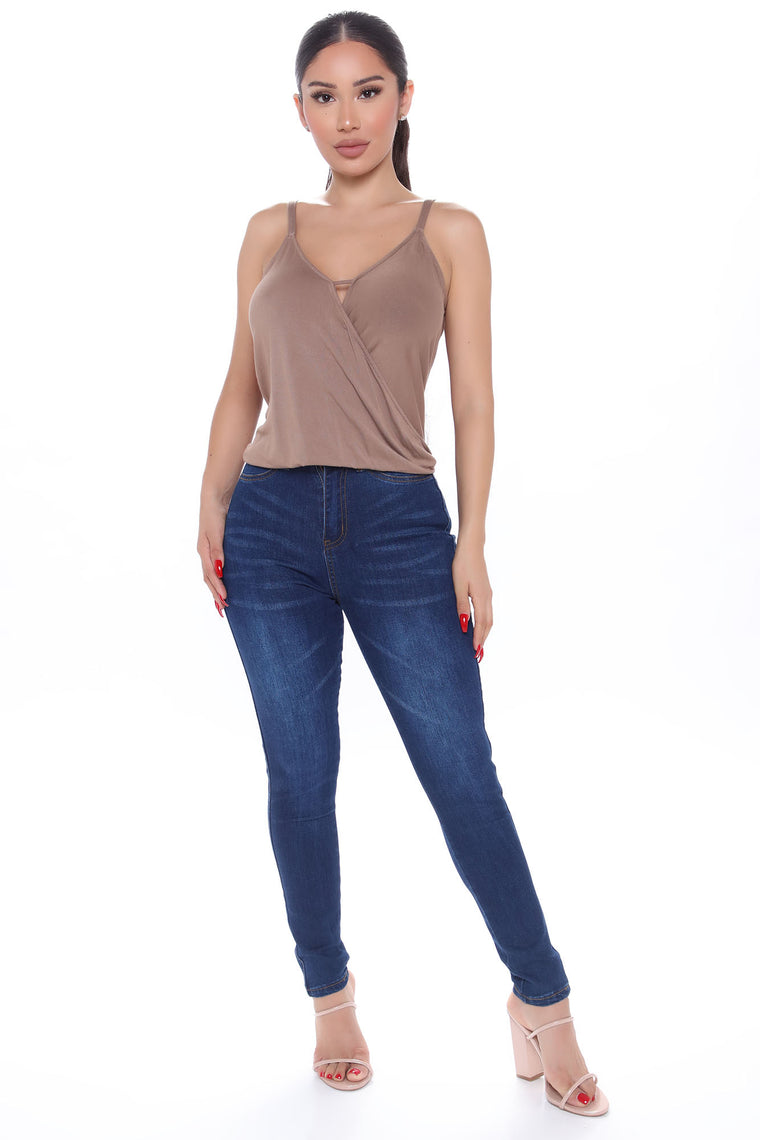 Give You My All And More Surplice Top - Mocha