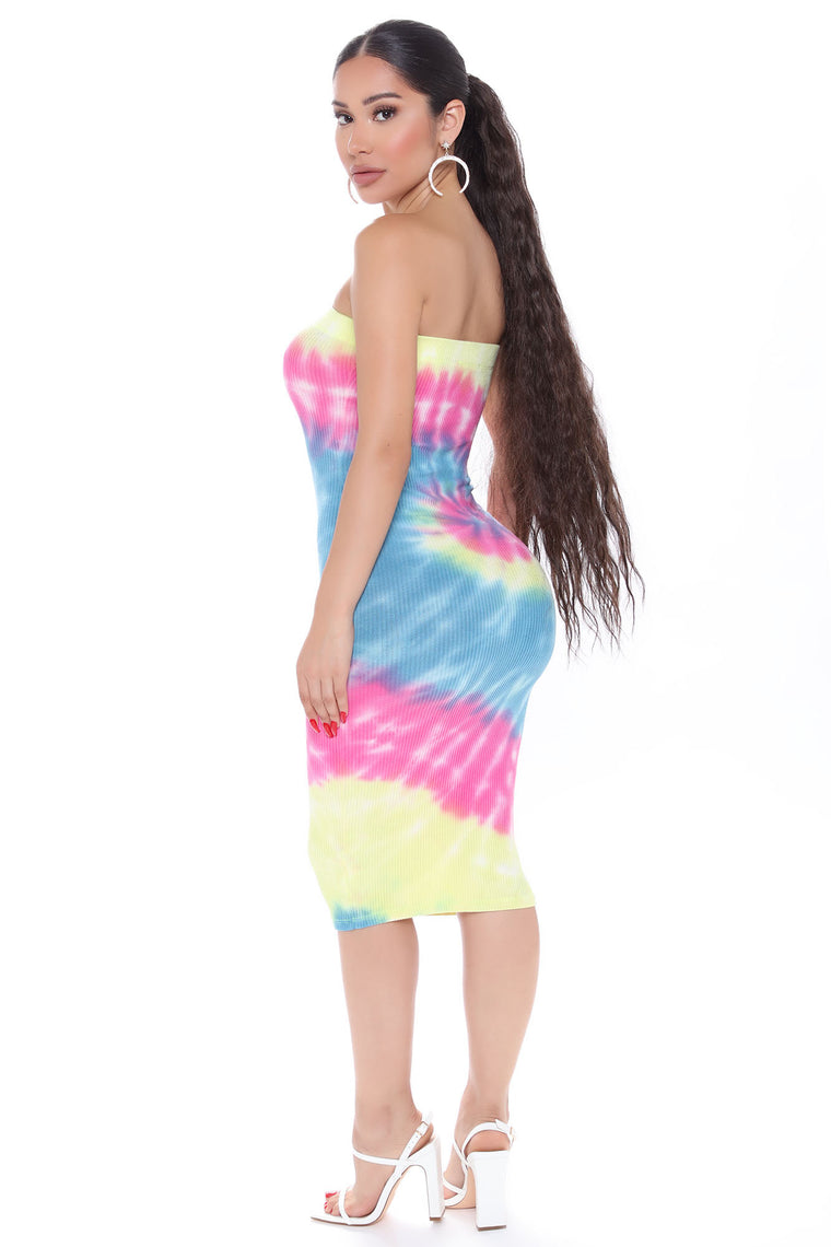 Everything And More Tie Dye Midi Dress - Multi Color