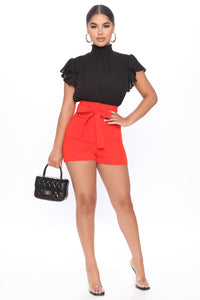 Melody Tie Waist Linen Shorts - Red Angle 1